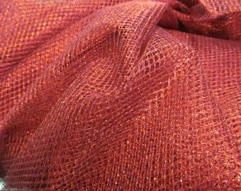Red Metallic Tulle Netting Dress Fabric 150cm Wide