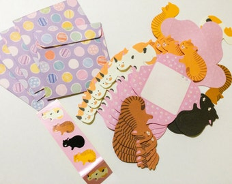 Japanese Die Cut Origami Mini Letter Set - Cats