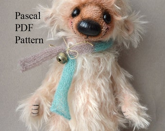 PDF Teddy bear pattern, 10 inches (25 cm) - Pascal
