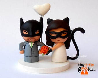 Custom Wedding Cake Topper- Masked Bride and Groom