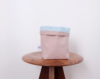 Small fabric basket - pink and blue dots patterns