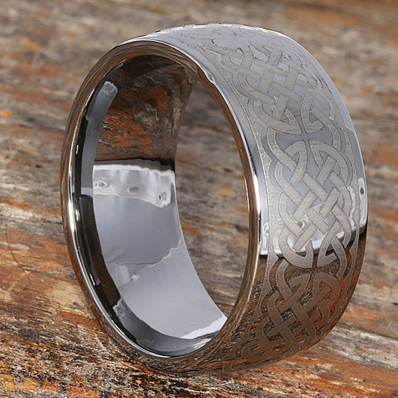 10mm Cross Wedding Band With Knot Work Tungsten Wedding Band