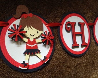 Cheerleading Themed Girl's Birthday Party Banner - Customize your colors