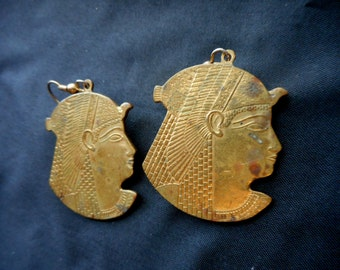 Egyptian Earrings, Egypt Pharaoh, Egyptian Earrings, Cleopatra, ISIS, Egyptian Queen Earrings, Vintage Brass Earrings, Ancient Egypt