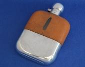 Large Vintage Hip Flask - James Dixon - Leather & Silver Plate - Antique Pocket Flask - mans gift - present Hunting Fishing - Drink