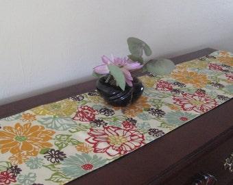 Floral Table Runner - Reversible Table Runner - Marsala and Mustard Table Runner - Long Runner - Narrow runner