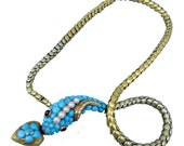 Antique Victorian Snake Necklace Gold Turquoise Pearl Heart Locket Boxed (#5768)