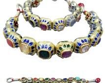 Antique Pair Bracelets Gem Gold Emerald Mughal Ruby Diamond Emerald (#5759)