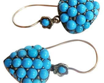 Antique Victorian Gold Turquoise Heart Earrings 15ct English Earrings (#5388)