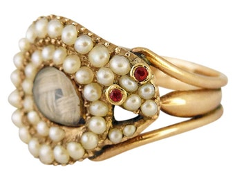 Antique Georgian Snake Ring Gold Natural Pearls Memorial Momento Mori (#5314)