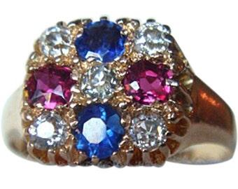 Antique American Patriotic Ring Gold Diamond Ruby Sapph (#4478)