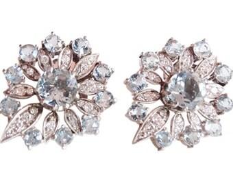 Antique Edwardian Earrings Diamond Aquamarine Platinum (#4543)