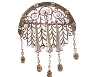 Antique Theodor Fahrner Brooch Pin Enamel Pearl Gems (#4167)