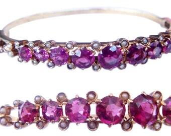 Antique Victorian 14k Gold Pearl Rubellite Bracelet (#3850)
