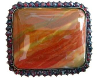 Antique Czech Garnet Aragonite Vridlovec Gem Brooch (#3461)
