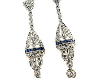 Earrings Deco Antique Diamond Natural Sapphire Platinum Pendant Earrings (#5565)