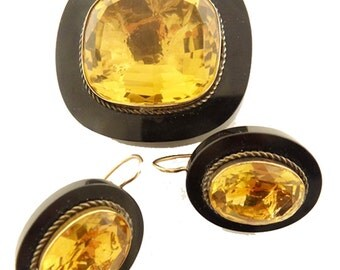 Antique Victorian Earrings Brooch Gold Onyx 80ct Citrine Christmas 1864 (#5664)