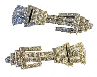Art Deco 2.70 ct Diamonds Platinum Earring Ear Pendants Geometric (#5708)