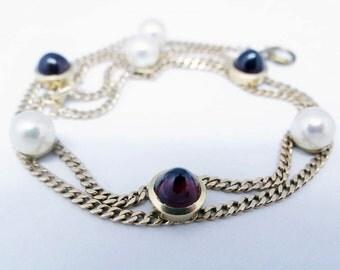 Antique Edwardian Bracelet Pearls Garnets Double Gold Chain Early 1900's (#5785)