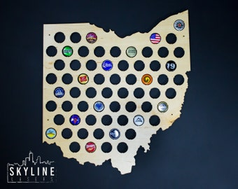Ohio Beer Cap Map OH Glossy Beer Bottle Cap Map Holder, Craft Beer Cap State Map