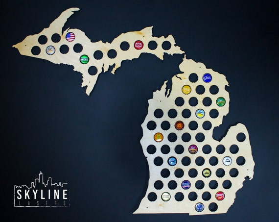 Michigan Beer Cap Map MI Glossy Beer Bottle Cap Map Holder