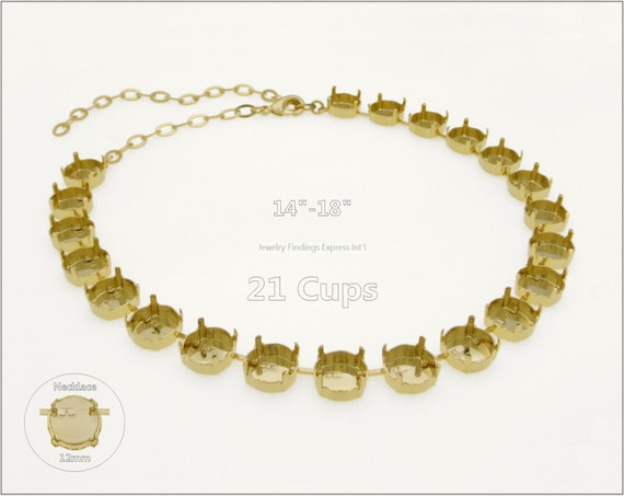 1 pc.+ 21 Cups, 12mm Empty Cup Chain for Necklace - Gold Plating