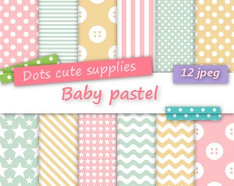 12 Digital BABY PASTEL assorted digital papers,12 jpeg files,digital scrapbooking,colorful paper,stripes pattern,buttons,dots,stars, polka