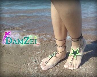 crochet Starfish, Barefoot Sandal, Black Barefoot Sandal, Lace Barefoot Sandal, Barefoot Anklet, Foot Jewelry