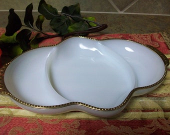 Vintage Fire King Anchor Hocking Milkglass Divided Relish Tray Art Deco Fire King Milk Glass Anchor Hocking  Oven Fire King Ware 6 USA