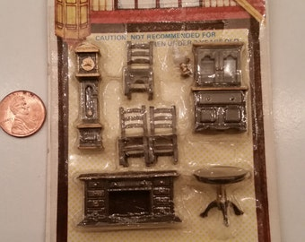 Vintage Mini Dollhouse Furniture Dining Room Set New in Package