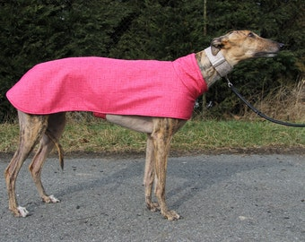 Greyhound clothing, greyhound coat, greyhound sweater, greyhound spring coat, pink