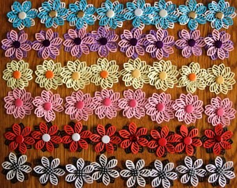 Fancy Flowers embellishments x 8 for paper crafts, card making and scrapbooking. Free postage in UK.