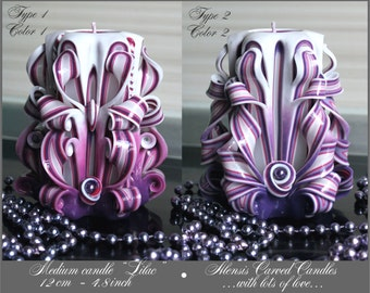 Mother's day gift - Purple Candle - Unique Housewarming Gift for him - Carved candles