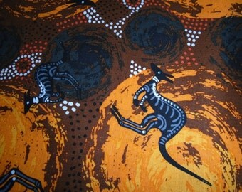 Australian Aboriginal Dreamtime Print, by the Half Yard