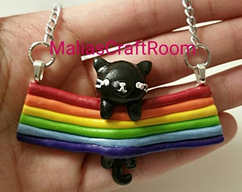 Polymer Clay Kawaii Black Cat on a Rainbow  Statement Necklace
