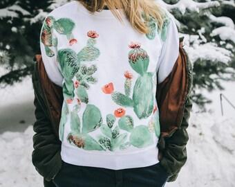 Hand Embroidery Cactus Sweatshirt Size M