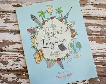 Travel Theme Adult Coloring Book Passport To Imagination Colouring Sketchbook Craft