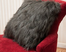 Luxurious faux  fur fancy feather throw pillow gray