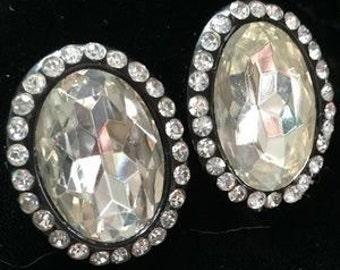 Huge Glamorous Vintage Rhinestone Earrings