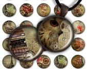 75 % de réduction vente Digital Collage feuille automne Steampunk 1 pouce rond 30mm 25mm 20mm cercle pendentif téléchargement PC054 Instant Download fabrication de bijoux