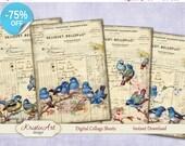 75% OFF SALE Blue Birds - Digital Collage Sheets Printable download, Digital Cards, Large digital image, Transfer Images bags books fabrics