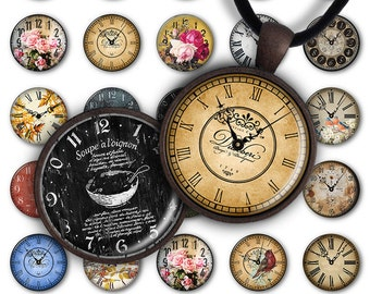 75% OFF SALE Digital Collage Sheet Antique Clock Faces 1inch Round 25mm Circle Pendant Printable PC049 Instant Download Jewelry Making