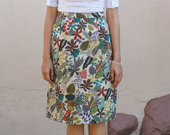 "Cream skirt with bright multi coloured flowers cotton fabric ""Chie"""