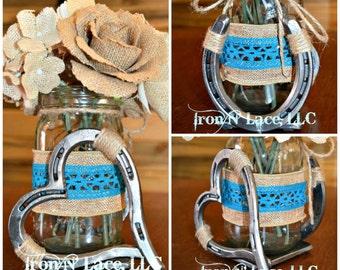 Luck n' Love horseshoe Wedding center piece/flower vase
