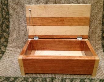 Wooden keepsake jewelry maple cherry box hinged