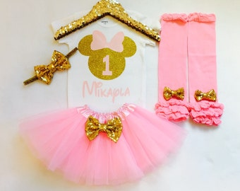 Personalized pink and gold minnie mouse 1st birthday outfit, Pink and gold minnie birthday outfit, pink gold first birthday minnie mouse