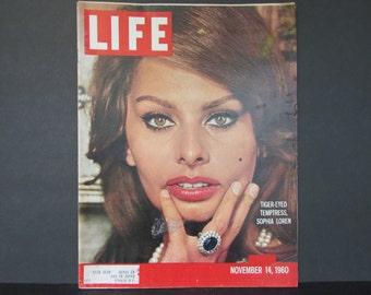 1960's Sophia Loren Life Magazine, November 14, 1960/ Irving Penn photos Audrey Hepburn, Thomas Burgess, Portrait of our planet Petrucelli