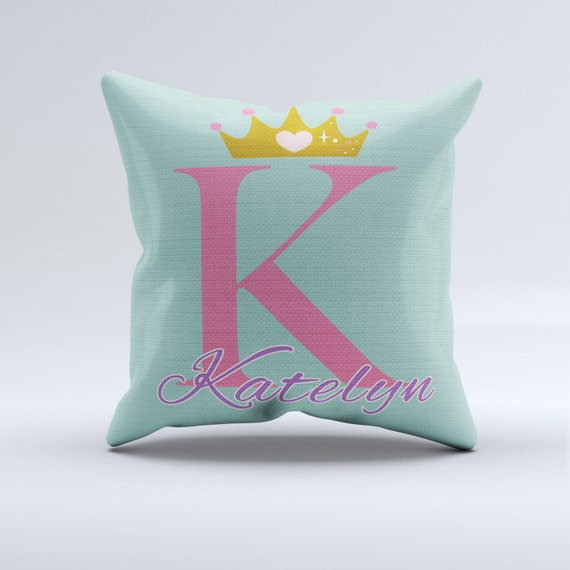 Items similar to princess throw pillow, custom name pillow, pink and mint and gold crown throw ...