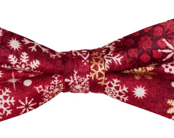Red Holiday Pre-tied Bow Tie - Red & Gold Snowflake Holiday Design - Infants to Adults - 100% Cotton - Extras So Sweet, LLC