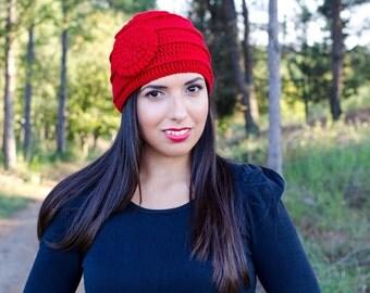 Red crochet flower hat, knit hat with flower, flower beanie, winter hats for women, crochet womens hat, crochet beanie, hats for women